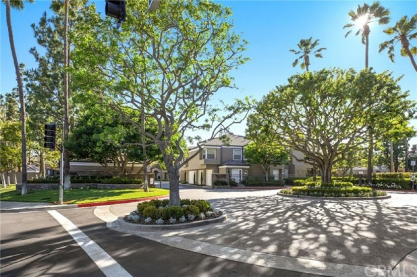 Gated entrance of Baycrest Court, in Newport Beach.