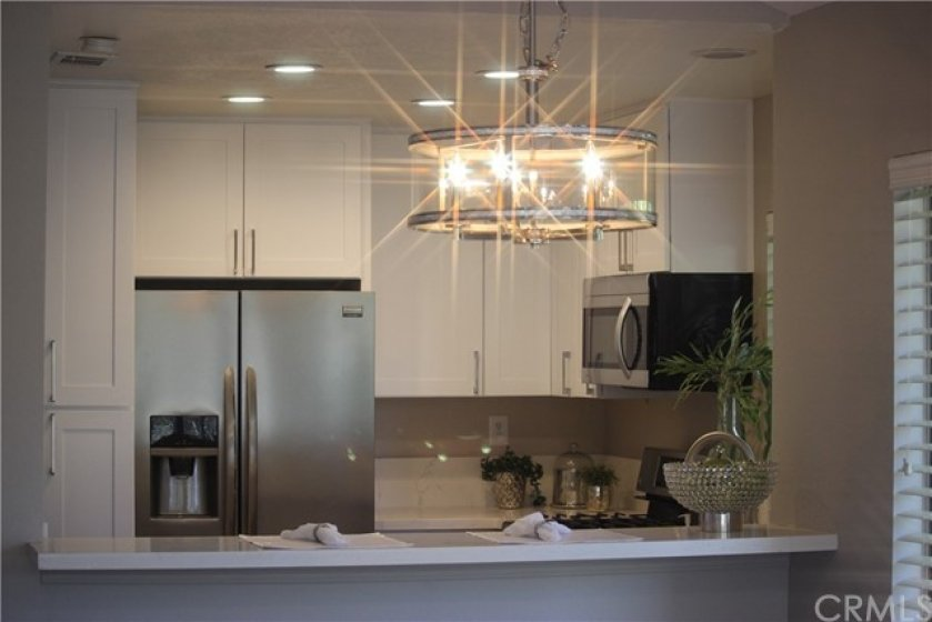 New lighting in kitchen and dining room.