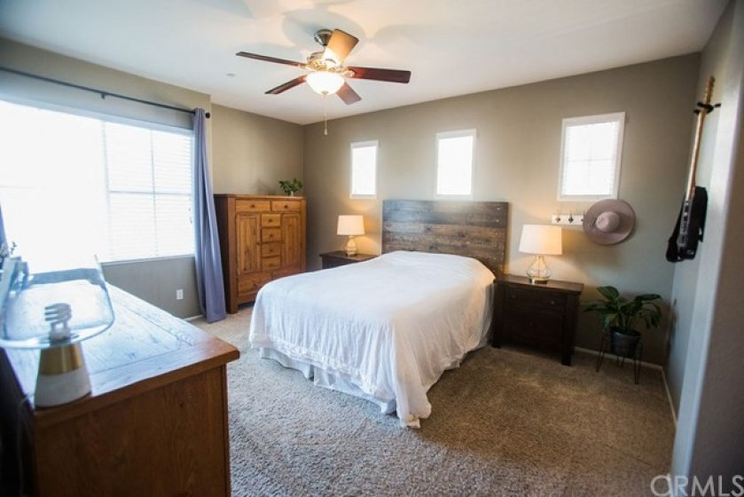 The spacious master features neutral carpet, a ceiling fan, plenty of natural lighting, window coverings and a walk in closet.