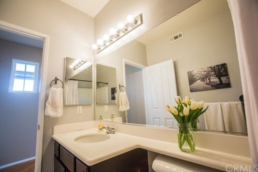 Another view of the secondary bathroom vanity.