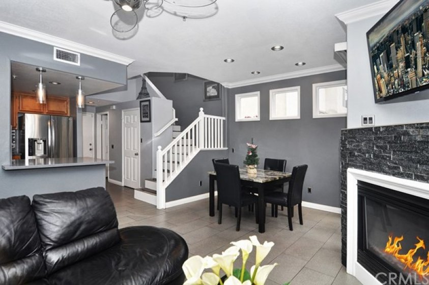 Family room, incorporates the kitchen and dining area.