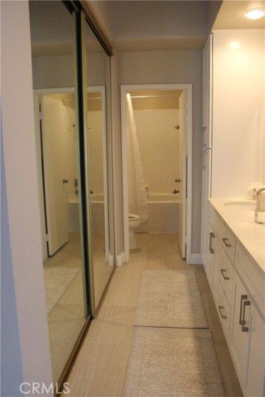 Master bath with new ceramic tile floors.