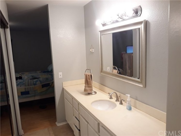 Master bathroom has lots of counter space and lots of drawers