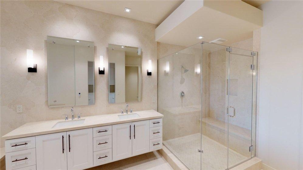 Side by side vanities in master bath.