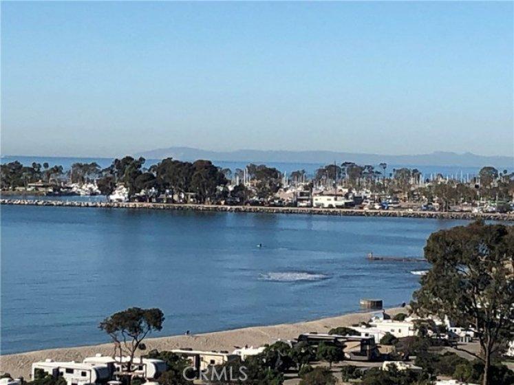 Catalina Island, Dana Point Harbor and Doheny State Beach views