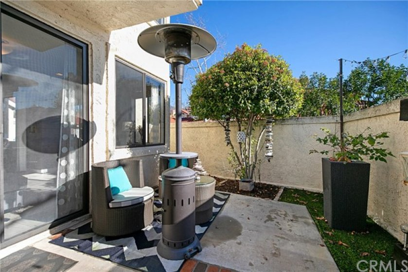 Rare find for a condo, a large entertaining backyard with access from the living room or master bedroom.