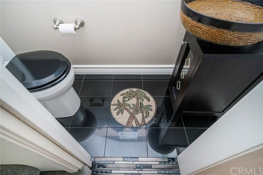 Guest bathroom with palms art tile!