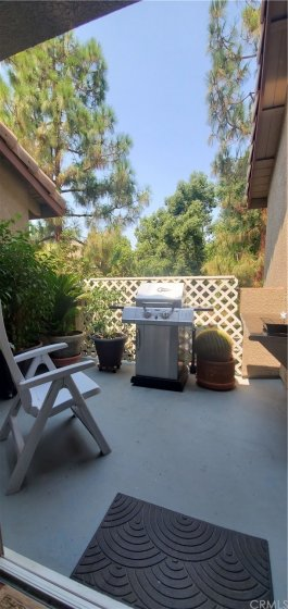 Patio with storage closet is adjacent to Living Rm.  Great space for BBQ area with built in counter space as well as electrical outlet and water hose already installed.