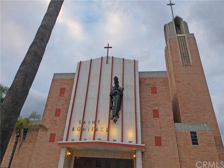 Saint Boniface Catholic church located within one block of 286 S. Seneca Circle
