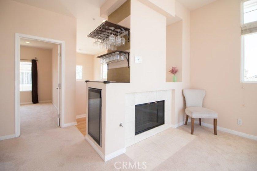 Living room fireplace and 2nd bedroom doorway