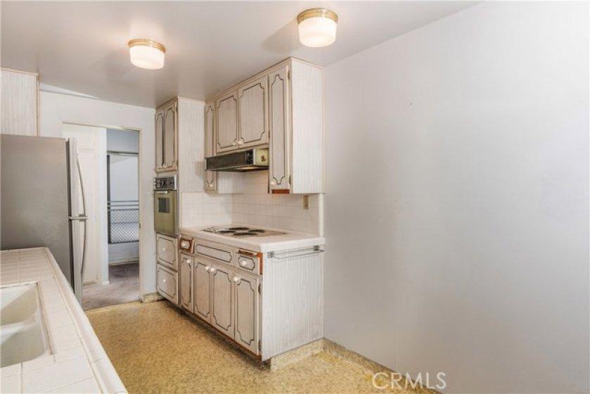 Kitchen with view of front door