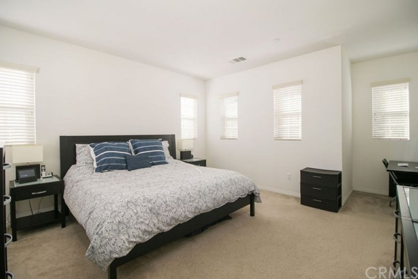The master bedroom is spacious and offers room for a king size bed many windows for natural light.