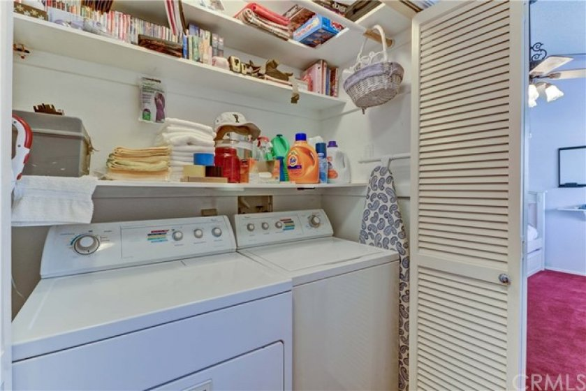 Laundry closet with gas and 220V.