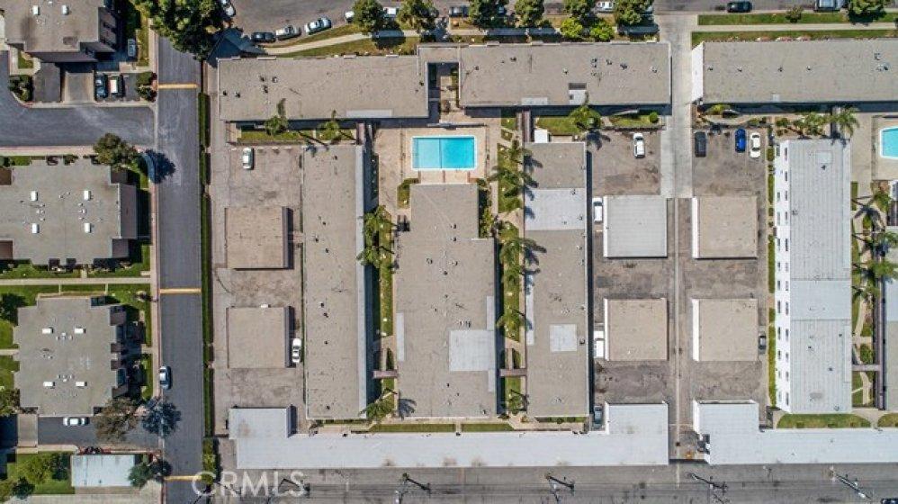 Aerial view of the Hampton Condos. Long buildings are the condos, and the small buildings are the carports.