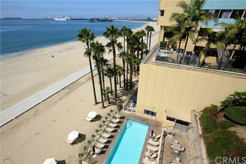 View of pool and beach.