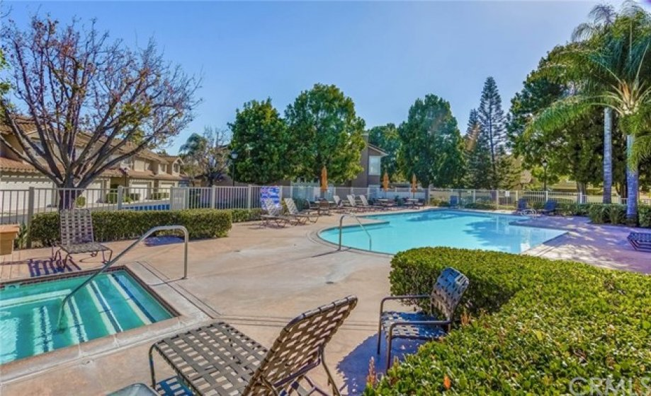 Community features pool and spa and plenty of shade trees.