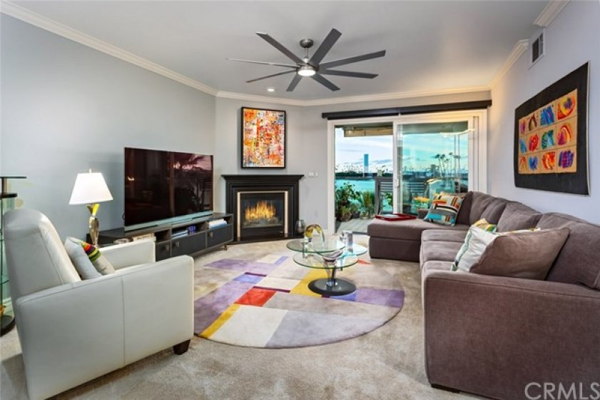 Living Room with Breath Taking Views, Fireplace, Designer Fan, Automatic Shades