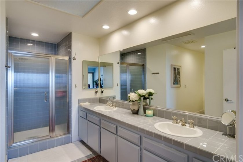 ...large master bath with separate shower and...