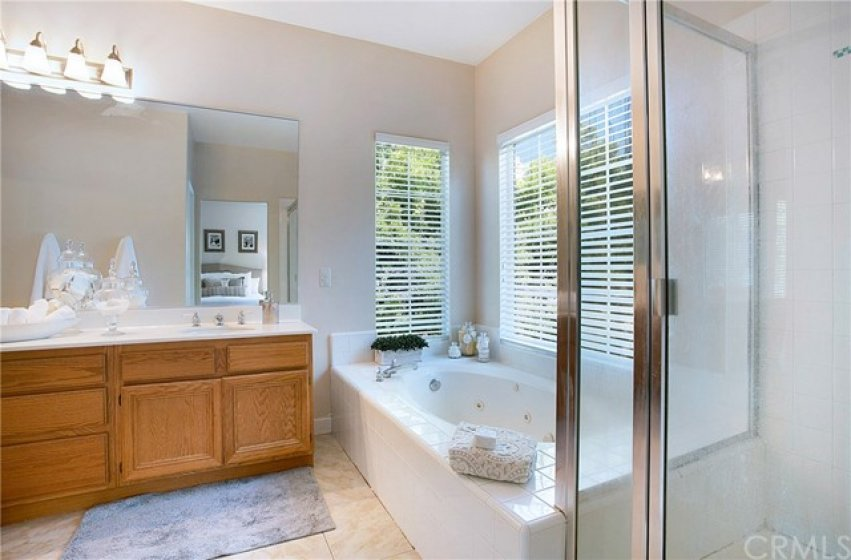Master bath with jacuzzi tub, dual vanities and walk in closet with mirrored closet doors.