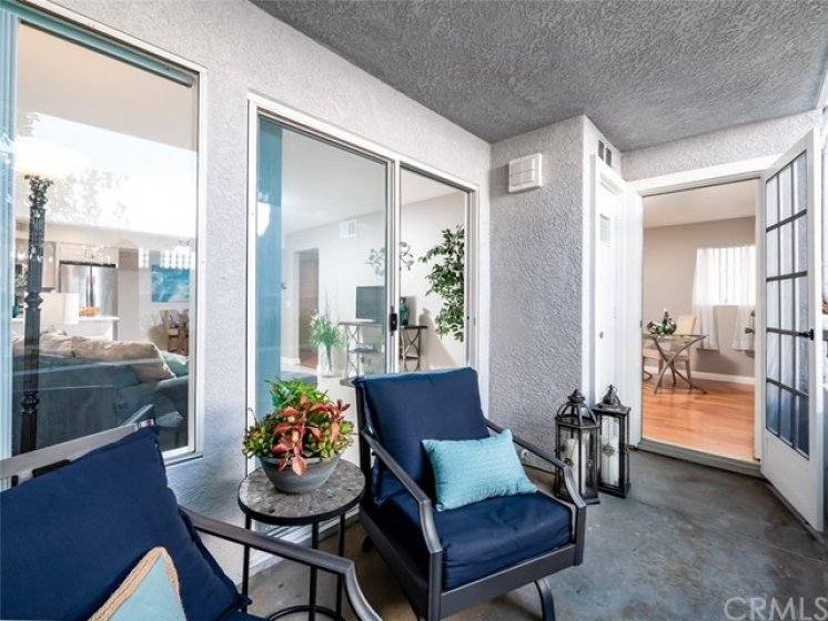 Charming Front Patio opens to living room and to 2nd Bedroom