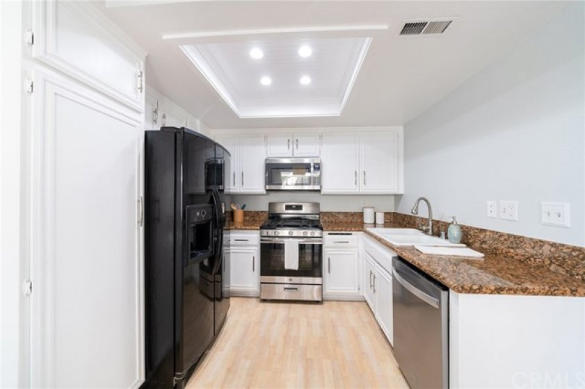Kitchen with beautiful recessed lights