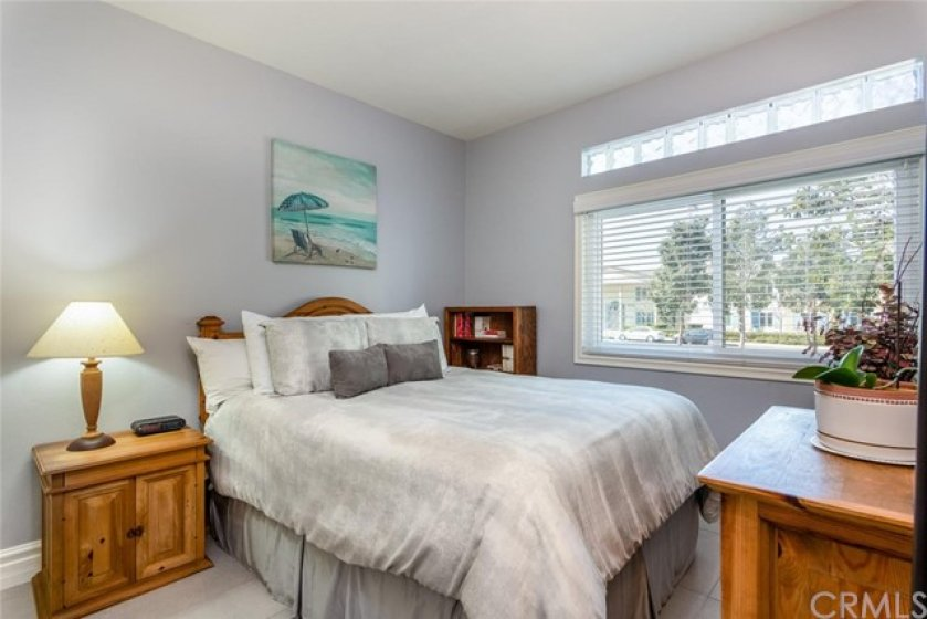 Guest bedroom with double pane window.