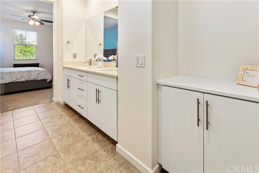 Good storage in the master bath, too!