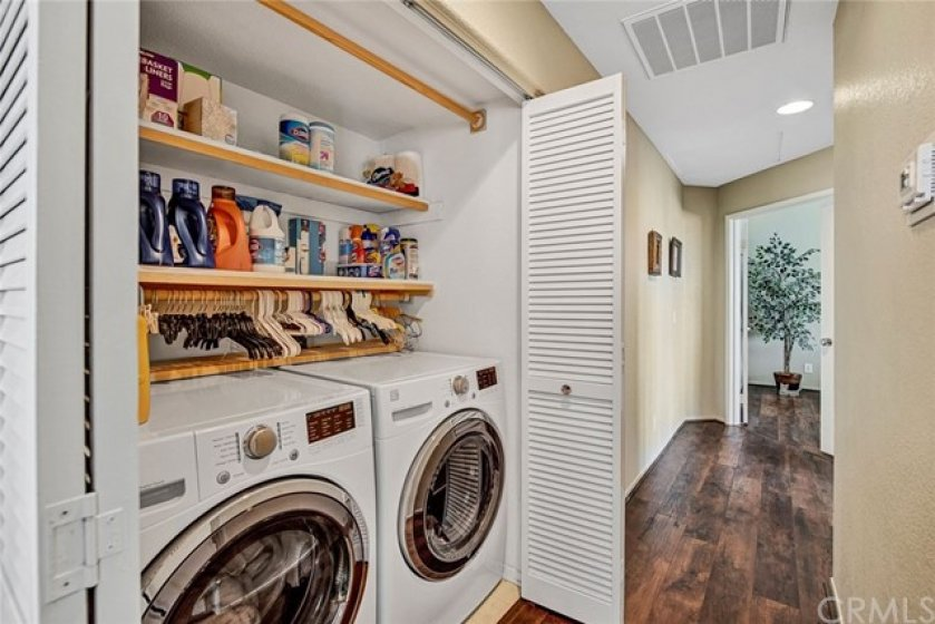 Laundry closet is suitable for full sized washer and dryer