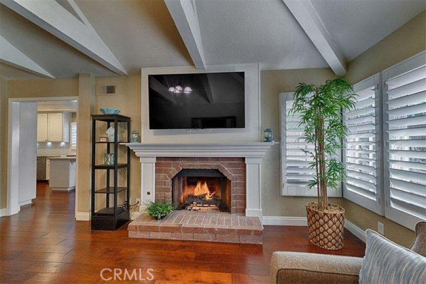 Living room, custom fireplace .