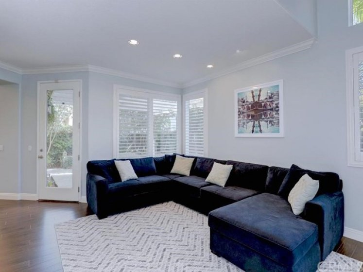 The large living area has recessed lighting, crown molding, high baseboards, and plantation shutters opening to the backyard.