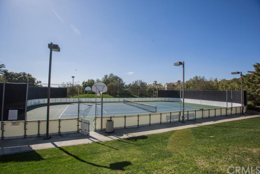 The club also features two lit tennis courts.