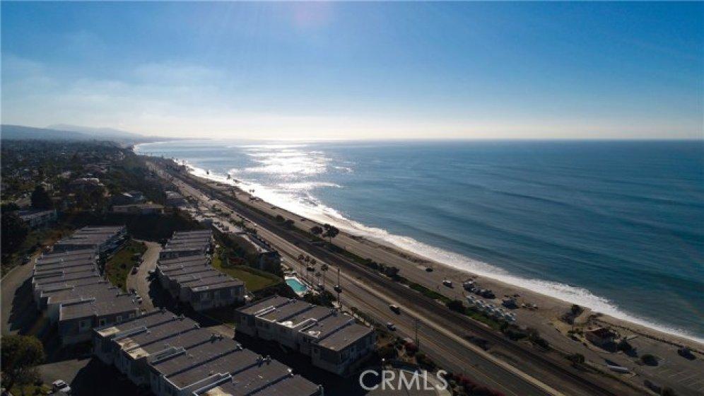 Aerial view of coastline looking south