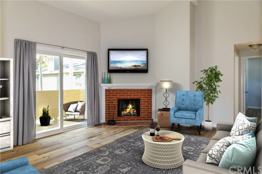 VAULTED CEILINGS IN LARGE LIVING ROOM. ENJOY A NICE WARM FIRE WITH THAT GLASS OF WINE.