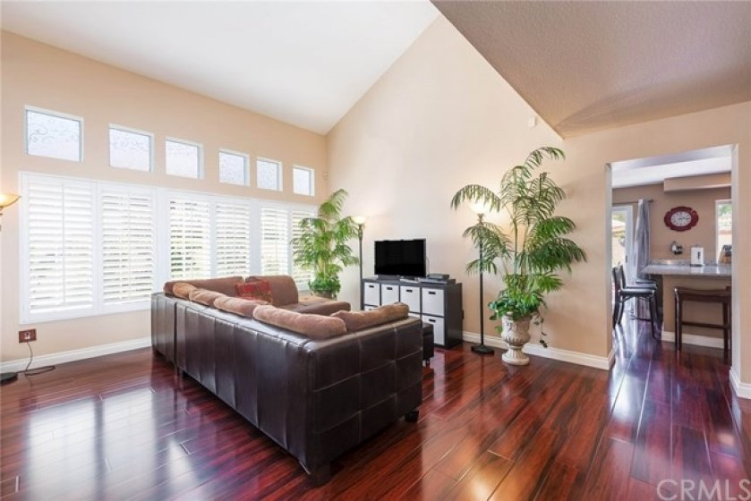 Gorgeous rich laminate flooring, neutral paint (both upgraded in 2016), and upgraded baseboards throughout downstairs.