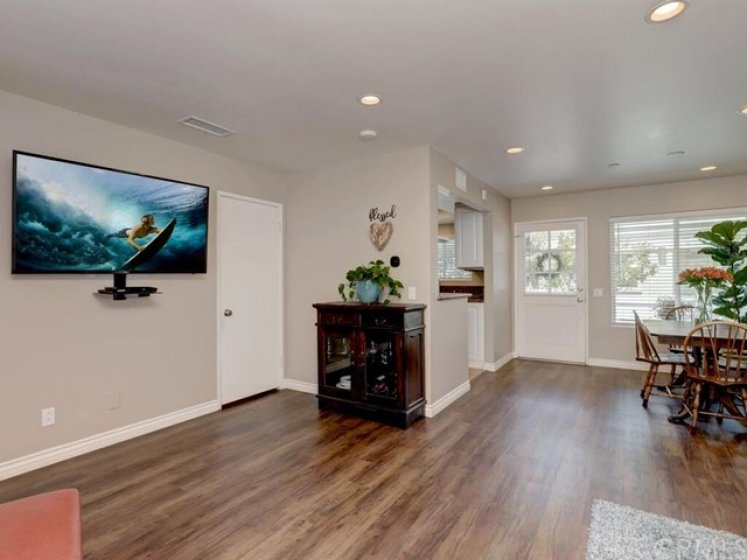 A truly open floor plan combines living and dining in a great room style.