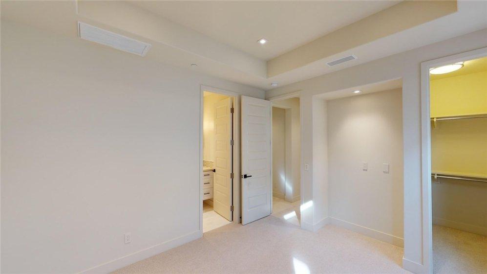En-suite bath and walk-in closet of secondary bedroom.