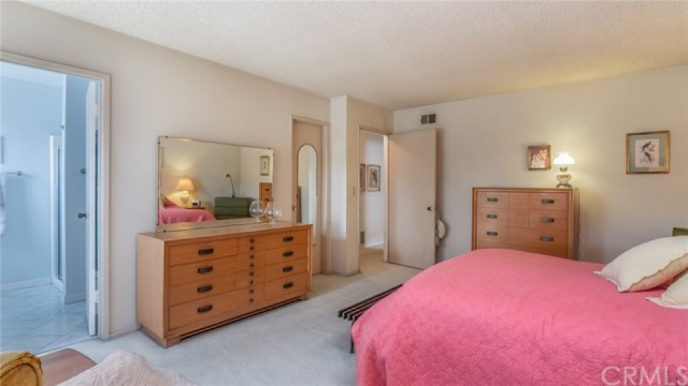 The oversized master bedroom has a walk in closet