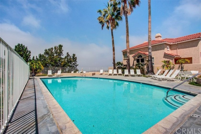 Vilamoura's HOA pool has an ocean view as well as a view of Catalina Island and Dana Point Harbor.