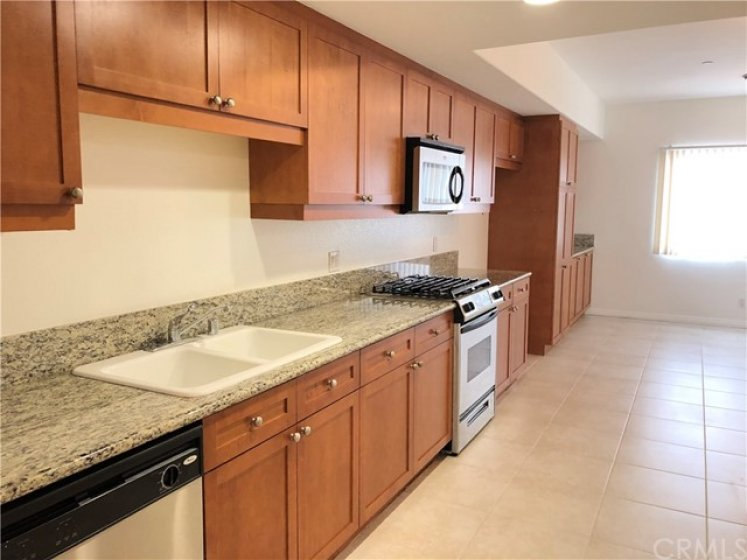 Spacious kitchen, large enough to add a table and chairs, couch or desk.