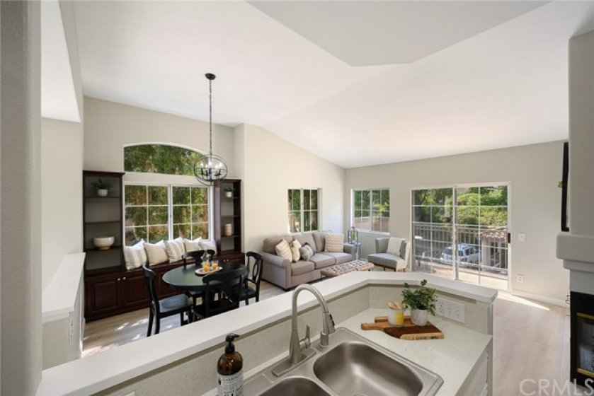 Kitchen overlooks the Living and Dining Rooms!