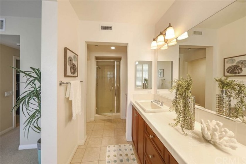 Soaking tub as well as full shower offer options in both bath areas. Take a bubble bath tonight ....then a quick shower for work tomorrow!