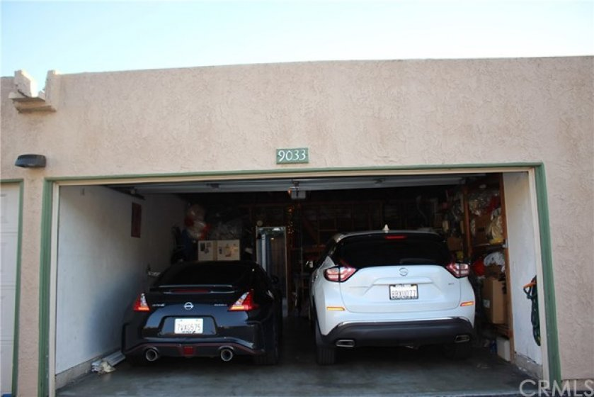 @car garage with direct access to your private patio