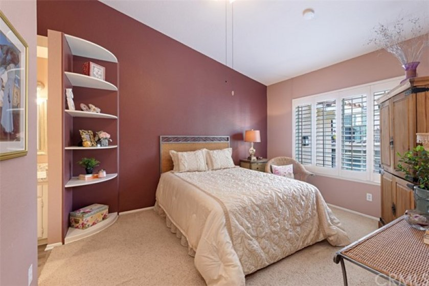 Master with built-ins, shutters, ceiling fan, and en-suite master bath ...
