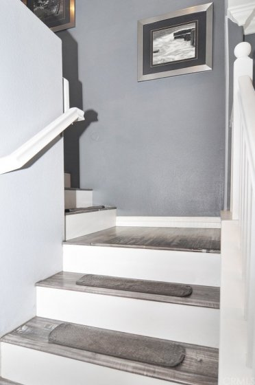 Laminate flooring on the stairs and the second level.