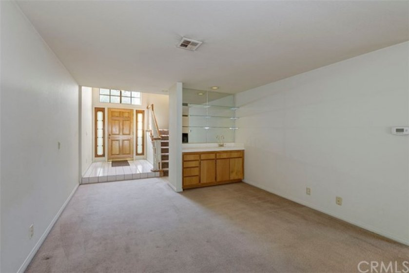 Large living room with wet bar