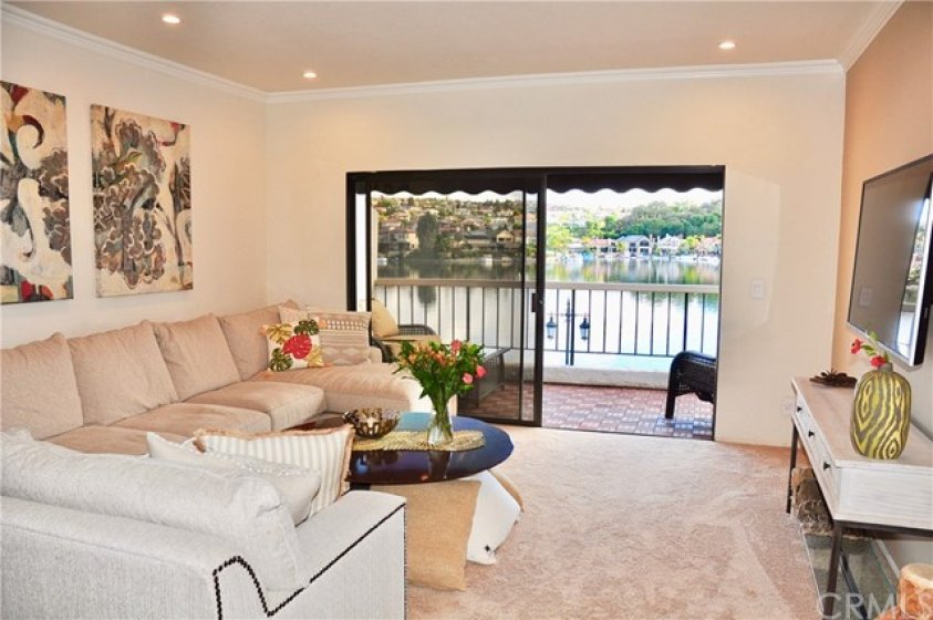Living Room with Beautiful Lakefront View