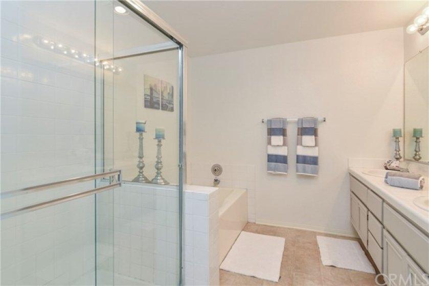 Master bath has big shower AND tub