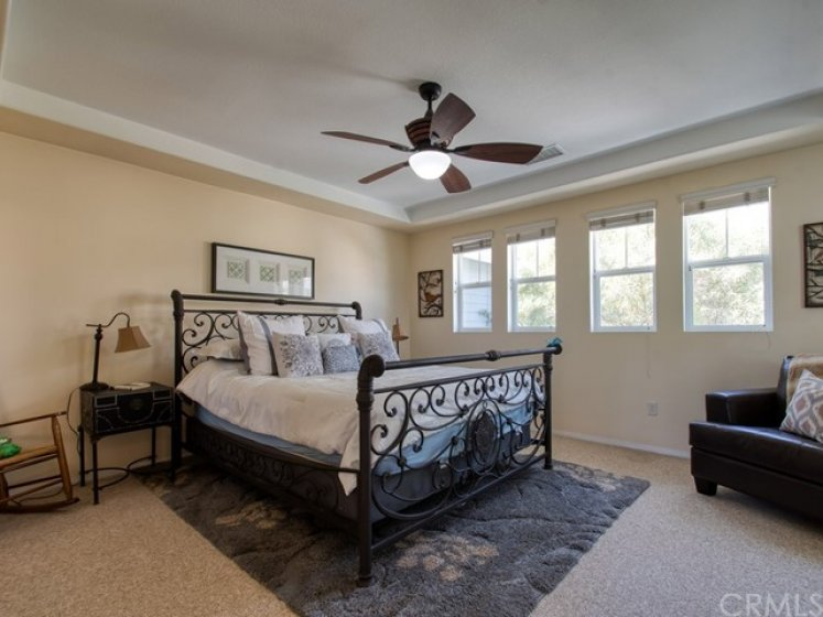 Spacious master bedroom with beautiful views of the trees!  This bed is a California King!  So much space here!
