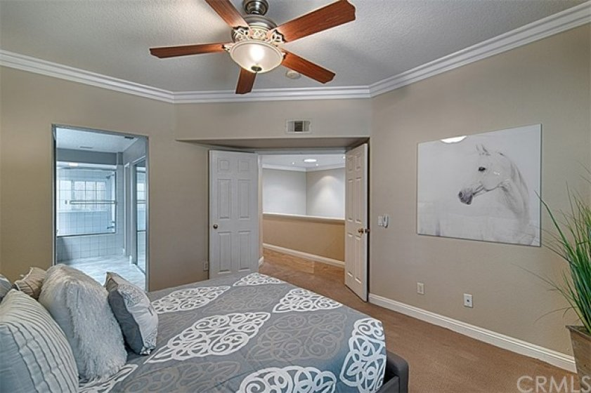Upstairs master suite with double door entry, lighted ceiling fan, large white crown molding and baseboards and attached to the spacious bath.