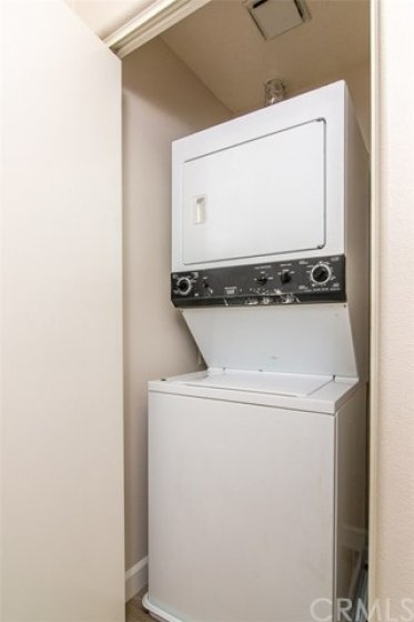 Stackable washer/dryer in closet for convenient laundry access